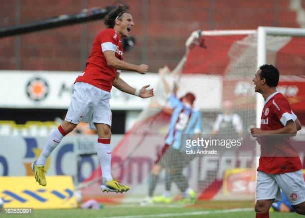 Diego Forlan player of Internacional celebrates a goal during a match between Gremio and Internacional as part of the Gaucho championship at...