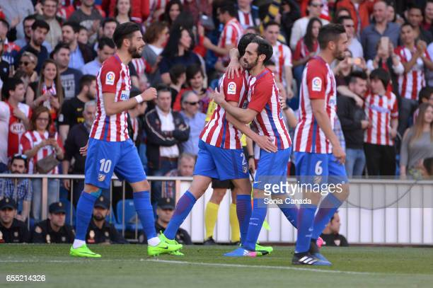 Diego Godin #2 of Atletico de Madrid celebrates after scoring his team's first goal during The La Liga match between Atletico Madrid v Valencia FC at...