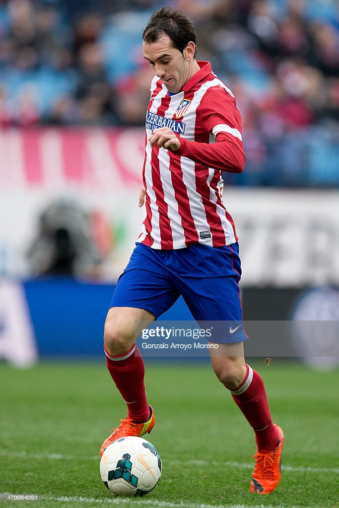 Diego Godin of Atletico de Madrid controls the ball during the La Liga match between Club Atletico de Madrid and Real Valladolid CF at Vicente Calderon Stadium on February 15, 2014 in Madrid, Spain.