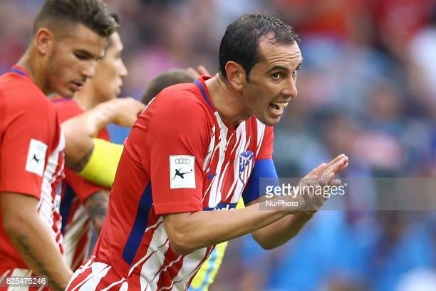 Diego Godin of Atletico de Madrid during the first Audi Cup football match between Atletico Madrid and SSC Napoli in the stadium in Munich southern...