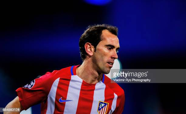 Diego Godin of Atletico is seen during the UEFA Champions League Round of 16 second leg match between Atletico Madrid and Bayer Leverkusen at Vicente...
