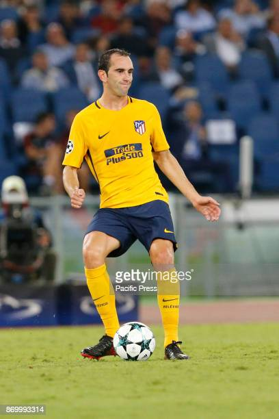 Diego Godin of Atletico Madrid during the UEFA Champions League Group C soccer match against Roma in Rome The match ended in a 00 draw