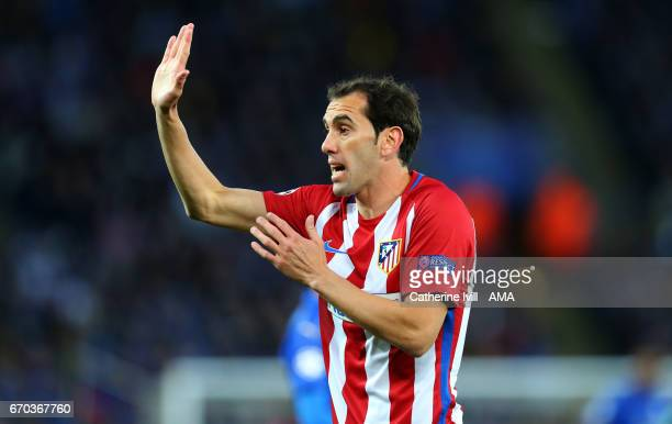 Diego Godin of Atletico Madrid during the UEFA Champions League Quarter Final second leg match between Leicester City and Club Atletico de Madrid at...