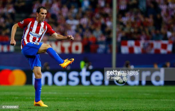 Diego Godin of Atletico Madrid in action during the UEFA Champions League Quarter Final first leg match between Club Atletico de Madrid and Leicester...