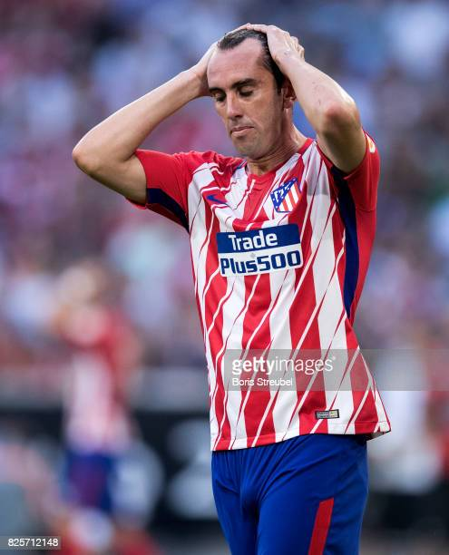Diego Godin of Atletico Madrid reacts during the Audi Cup 2017 match between Club Atletico de Madrid and SSC Napoli at Allianz Arena on August 1 2017...