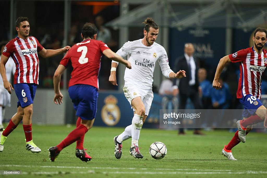 Diego Godin of Club Atletico de Madrid, Gareth Bale of Real Madrid during the UEFA Champions League final match between Real Madrid and Atletico Madrid on May 28, 2016 at the Giuseppe Meazza San Siro stadium in Milan, Italy.