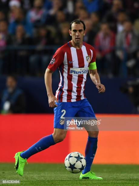 Diego Godin of Club Atletico de Madrid in action during the UEFA Champions League Round of 16 second leg match between Club Atletico de Madrid and...