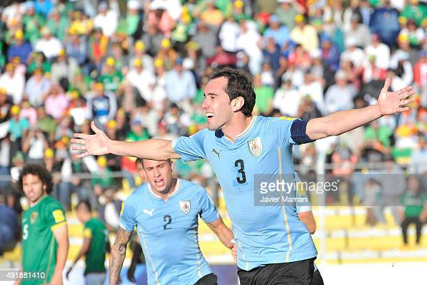 Diego Godin of Uruguay celebrates after scoring the second goal of his team during a match between Bolivia and Uruguay as part of FIFA 2018 World Cup...