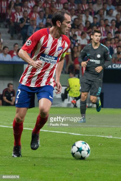 METROPOLITANO MADRID SPAIN Diego Godin with the ball Victory in the last seconds of the game for Chelsea by 1 to 2 Griezmann Morata and Batshuayi...