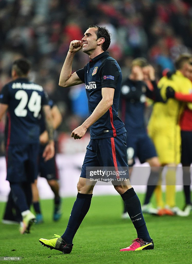 Diego God��n of Athletico celebrates at the end of the UEFA Champions League Semi Final second leg match between FC Bayern Muenchen and Club Atletico de Madrid at the Allianz Arena on May 03, 2016 in Munich, Bavaria.