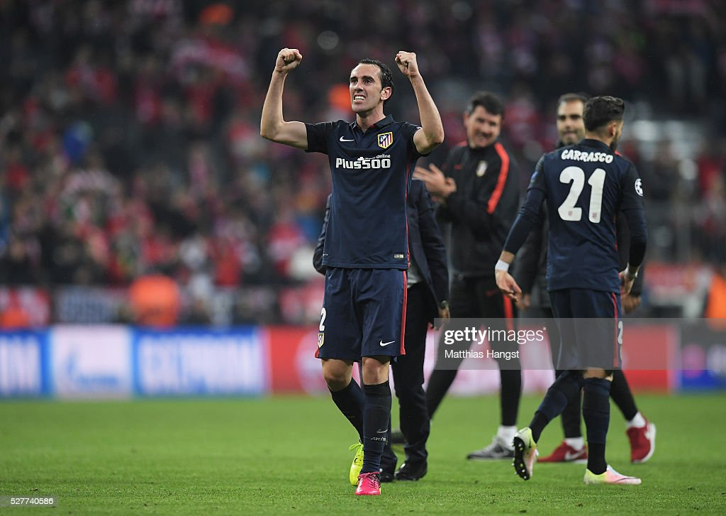 Diego God��n of Atletico Madrid celebrates with team mates after the UEFA Champions League semi final second leg match between FC Bayern Muenchen and Club Atletico de Madrid at Allianz Arena on May 3, 2016 in Munich, Germany. Bayern Munich won the match 2-1, but Atletico Madrid reached the final on the away goals rule.