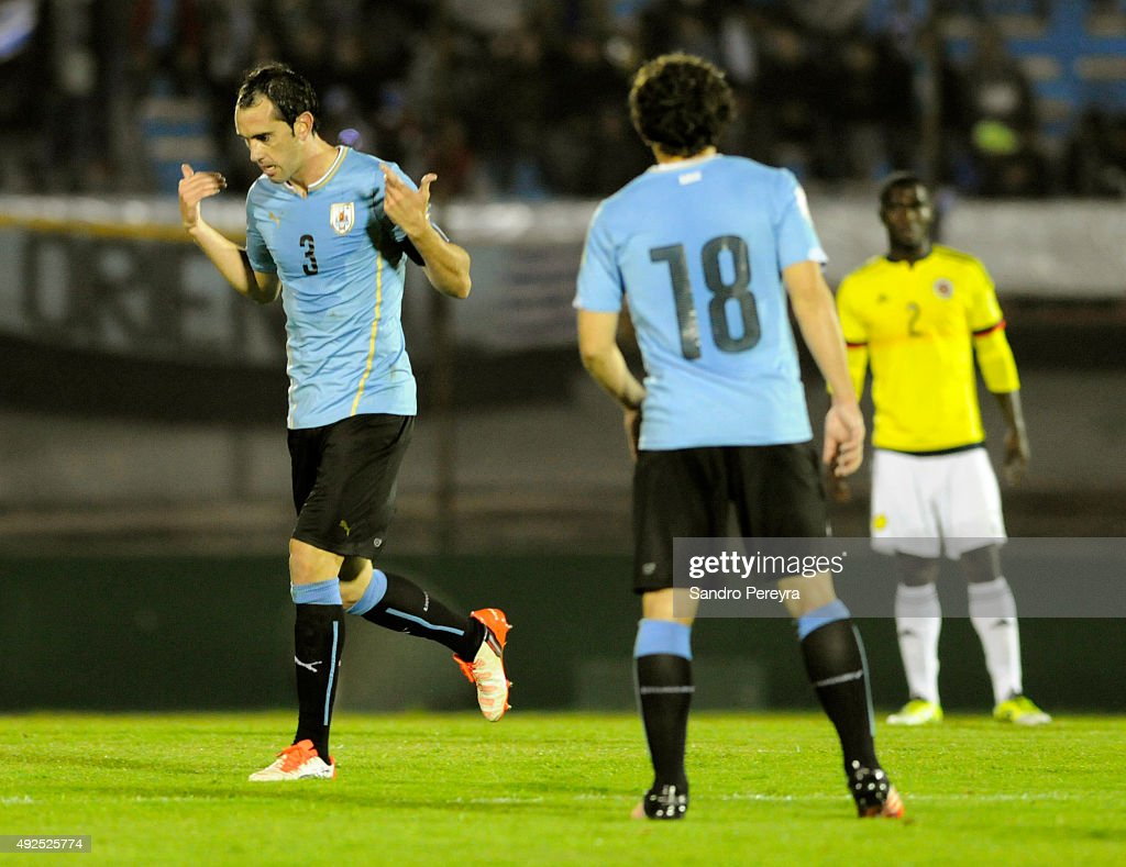 Diego Godín of Uruguay celebrates after scoring the opening goal during a match between Uruguay and Colombia as part of FIFA 2018 World Cup Qualifier at Centenario Stadium on October 13, 2015 in Montevideo, Uruguay.