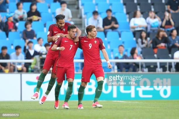 Diego Goncalves of Portugal celebrates with his team mates after scoring his team's first goal during the FIFA U20 World Cup Korea Republic 2017...