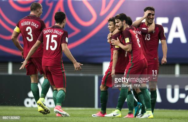 Diego Goncalves of Portugal celebrates with team mates after scoring his teams second goal during the FIFA U20 World Cup Korea Republic 2017 Quarter...
