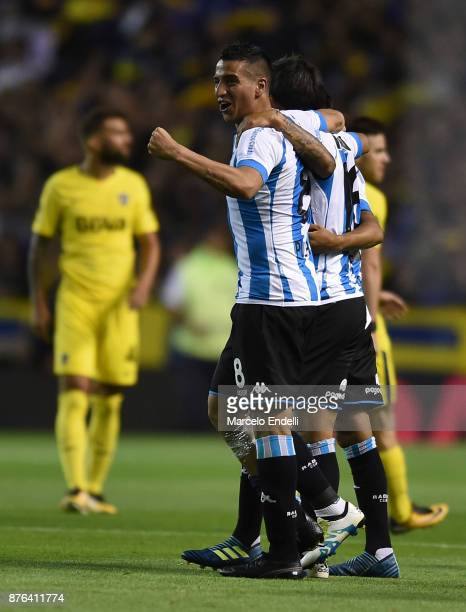 Diego Gonzalez of Racing Club and teammates celebrate after winning a match between Boca Juniors and Racing Club as part of the Superliga 2017/18 at...