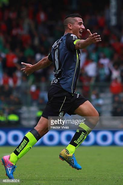 Diego Gonzalez of Santos Laguna celebrates after scoring the tying goal during a match between Toluca and Santos Laguna as part of 6th round Clausura...