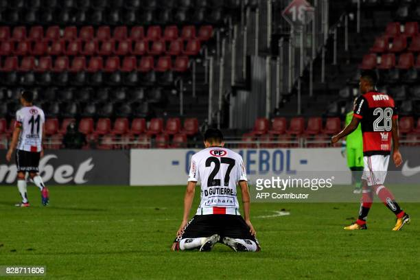 Diego Gutierrez of Chilean Palestino reacts upon losing by 5 to 0 their Copa Sudamericana 2017 football match against Brazilian Flamengo at Ilha do...