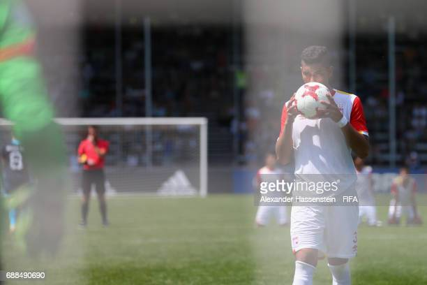 Diego Hernando Campo of Santa Fe prepares for a penalty against Mainz 05 duirng the penalty shot out af the match between Santa fe and Mainz 05 on...