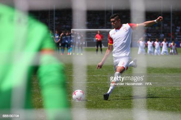 Diego Hernando Campo of Santa Fe shot a penalty against Mainz 05 duirng the penalty shot out af the match between Santa fe and Mainz 05 on day two of...