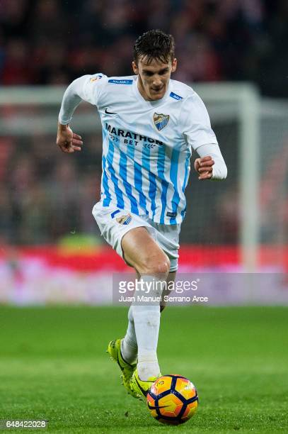 Diego Javier Llorente of Malaga CF controls the ball during the La Liga match between Athletic Club Bilbao and Malaga CF at San Mames Stadium on...