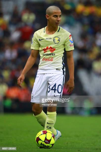 Diego Lainez of America controls the ball during the 10th round match between America and Necaxa as part of the Torneo Clausura 2017 Liga MX at...