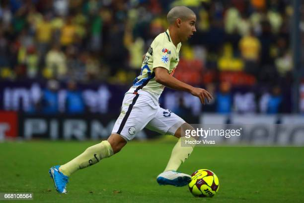 Diego Lainez of America drives the ball during the 10th round match between America and Necaxa as part of the Torneo Clausura 2017 Liga MX at Azteca...