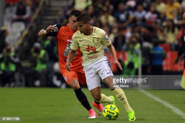 Diego Lainez of America drives the ball during the 17th round match between America and Pachuca as part of the Torneo Clausura 2017 Liga MX at Azteca...