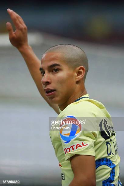 Diego Lainez of America gestures during the 10th round match between America and Necaxa as part of the Torneo Clausura 2017 Liga MX at Azteca Stadium...