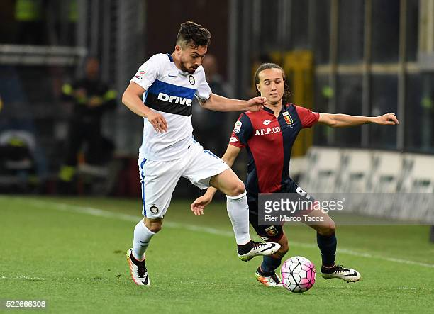 Diego Laxalat of Genoa CFC competes for the ball with Alex Telle of FC Internazionale during the Serie A match between Genoa CFC and FC...