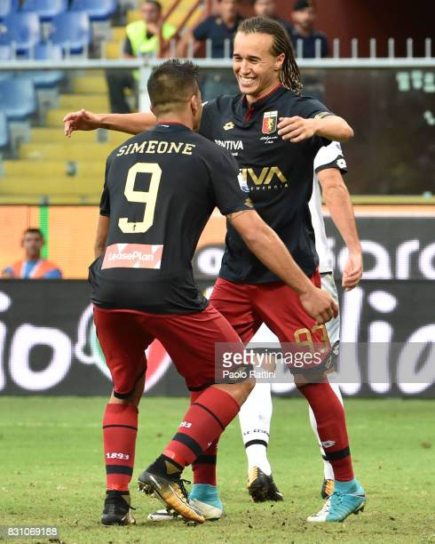 Diego Laxalt celebrate after score 21 during the TIM Cup match between Genoa CFC and AC Cesena at Stadio Luigi Ferraris on August 13 2017 in Genoa...