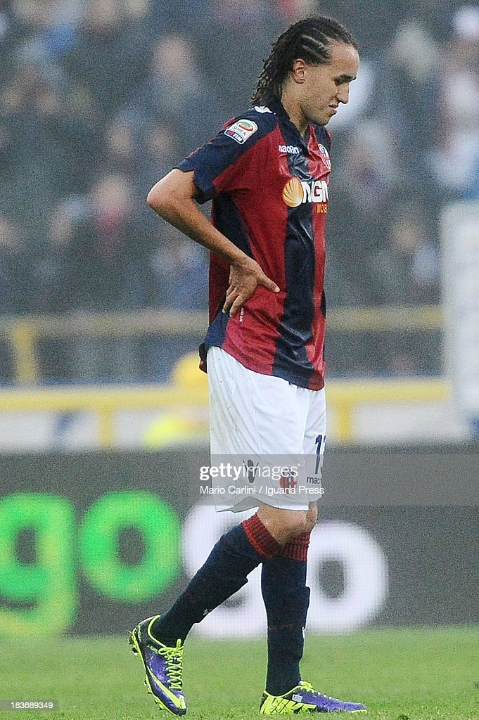 <a gi-track='captionPersonalityLinkClicked' href=/galleries/search?phrase=Diego+Laxalt&family=editorial&specificpeople=11047544 ng-click='$event.stopPropagation()'>Diego Laxalt</a> # 13 of Bologna FC looks dejected during the Serie A match between Bologna FC and Hellas Verona FC at Stadio Renato Dall'Ara on October 6, 2013 in Bologna, Italy.