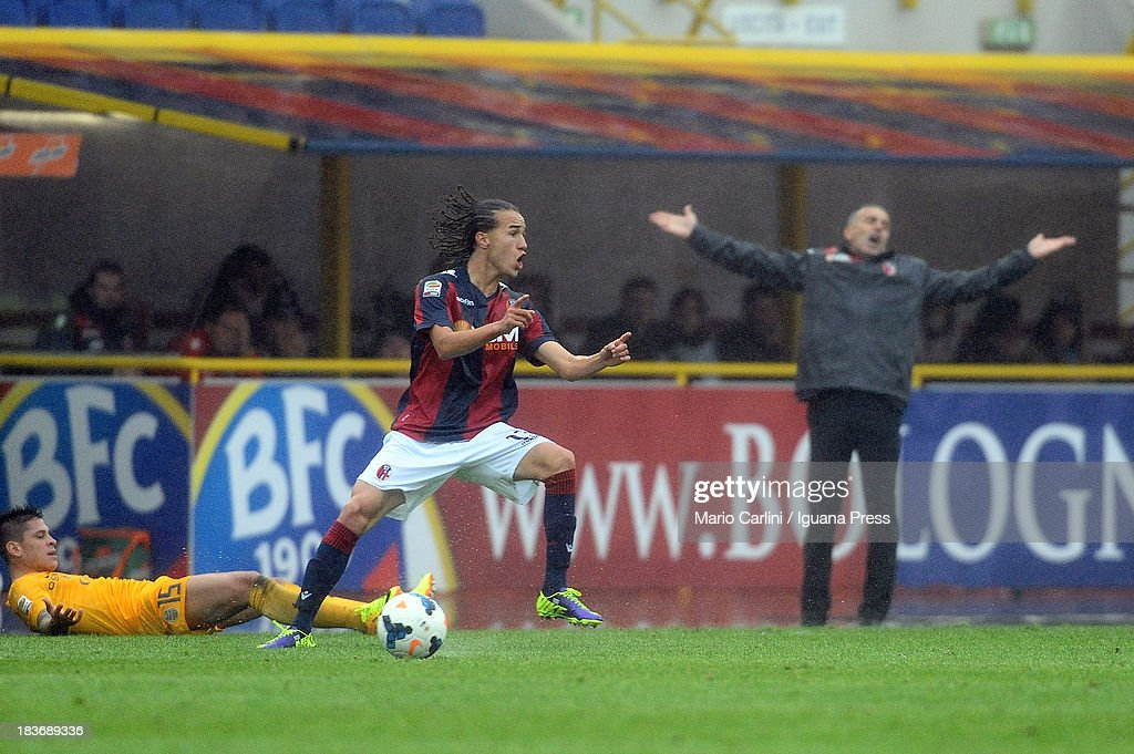 <a gi-track='captionPersonalityLinkClicked' href=/galleries/search?phrase=Diego+Laxalt&family=editorial&specificpeople=11047544 ng-click='$event.stopPropagation()'>Diego Laxalt</a> # 13 of Bologna FC reacts during the Serie A match between Bologna FC and Hellas Verona FC at Stadio Renato Dall'Ara on October 6, 2013 in Bologna, Italy.