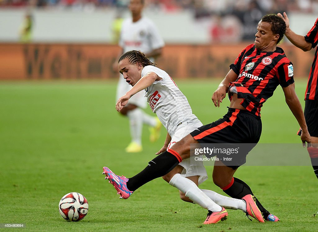 <a gi-track='captionPersonalityLinkClicked' href=/galleries/search?phrase=Diego+Laxalt&family=editorial&specificpeople=11047544 ng-click='$event.stopPropagation()'>Diego Laxalt</a> (L) of FC Inter Milan during the pre-season friendly match between Eintracht Frankfurt and FC Internazionale at Commerzbank-Arena on August 10, 2014 in Frankfurt am Main, Germany.