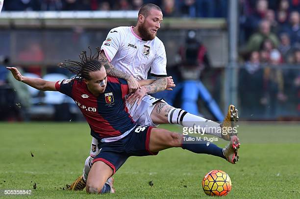 Diego Laxalt of Genoa and Michel Morganella of Palermo compete for the ball during the Serie A match between Genoa CFC and US Citta di Palermo at...