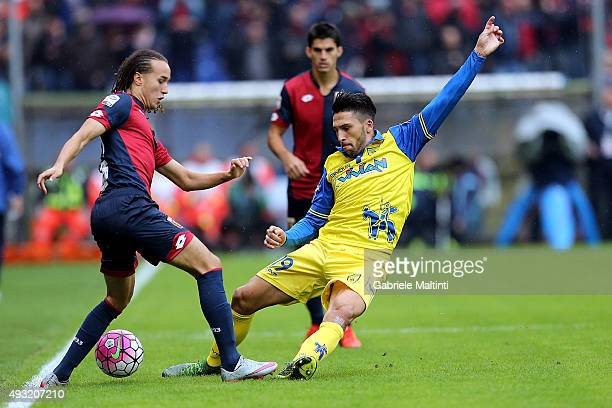 Diego Laxalt of Genoa CFC fights for the ball with Lucas Castro of AC Chievo Verona during the Serie A match between Genoa CFC and AC Chievo Verona...