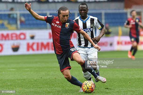 Diego Laxalt of Genoa CFC in action during the Serie A match between Genoa CFC and Udinese Calcio at Stadio Luigi Ferraris on February 21 2016 in...