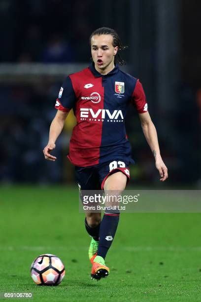 Diego Laxalt of Genoa CFC in action during the Serie A match between Genoa CFC and UC Sampdoria at Stadio Luigi Ferraris on March 11 2017 in Genoa...