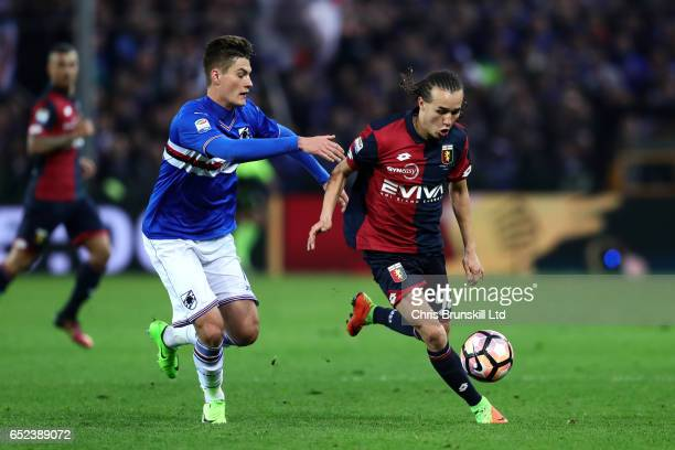 Diego Laxalt of Genoa CFC in action with Patrik Schick of UC Sampdoria during the Serie A match between Genoa CFC and UC Sampdoria at Stadio Luigi...