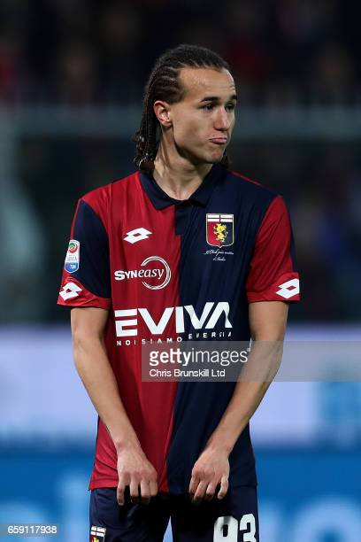 Diego Laxalt of Genoa CFC looks on during the Serie A match between Genoa CFC and UC Sampdoria at Stadio Luigi Ferraris on March 11 2017 in Genoa...