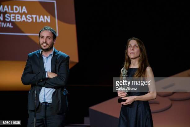 Diego Lerman receives the 'Best Screenplay' Award for the 'Una especie de familia' film during 65th San Sebastian Film Festival at Kursaal on...
