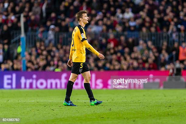 Diego Llorente expulsed during the match between FC Barcelona vs Malaga CF for the round 12 of the Liga Santander played at Camp Nou Stadium on 19th...