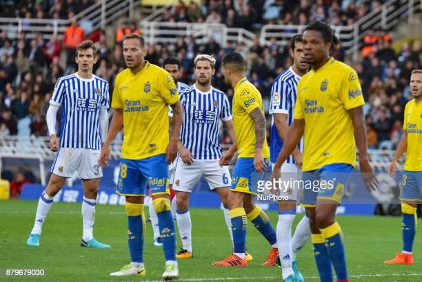 Diego Llorente Inigo Martinez and Xabi Prieto of Real Sociedad and J Castellano Remy of U D Las Palmas during the Spanish league football match...