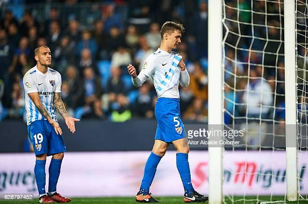 Diego Llorente of Malaga CF reacts after missing a chance of goal during La Liga match between Malaga CF and Granada CF at La Rosaleda Stadium...