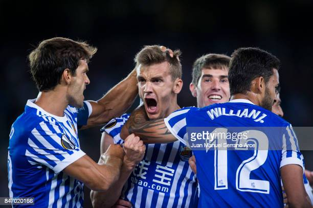 Diego Llorente of Real Sociedad celebrates after scoring goal during the UEFA Europa League group L match between Real Sociedad and Rosenborg BK at...