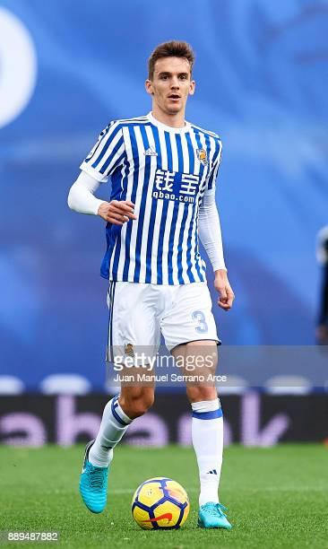 Diego Llorente of Real Sociedad controls the ball during the La Liga match between Real Sociedad de Futbol and Malaga CF at Estadio Anoeta on...