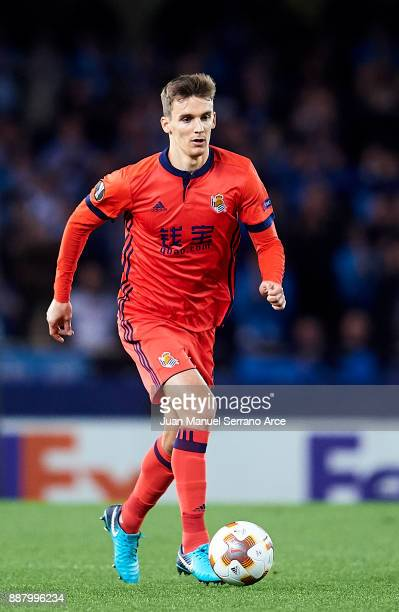 Diego Llorente of Real Sociedad controls the ball during the UEFA Europa League group L football match between Real Sociedad de Futbol and FC Zenit...