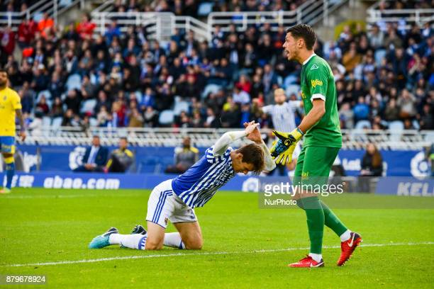 Diego Llorente of Real Sociedad reacts during the Spanish league football match between Real Sociedad and U D Las Palmas at the Anoeta Stadium on 26...