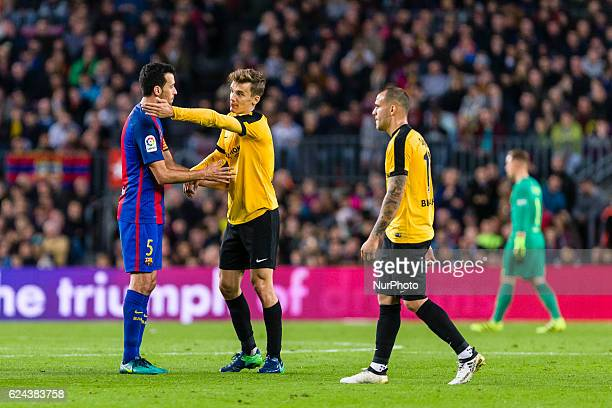 Diego Llorente protest the red card during the match between FC Barcelona vs Malaga CF for the round 12 of the Liga Santander played at Camp Nou...