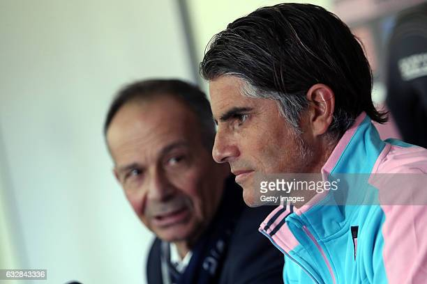 Diego Lopez answer questions with Sport Manafger Nicola Salerno during his presentation as new head coach of US Citta di Palermo at Tenente Carmelo...
