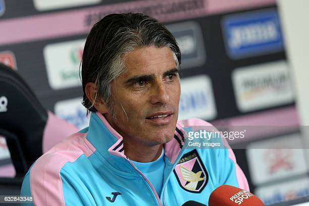 Diego Lopez answers questions during his presentation as new head coach of US Citta di Palermo at Tenente Carmelo Onorato Sports Center on January 27...